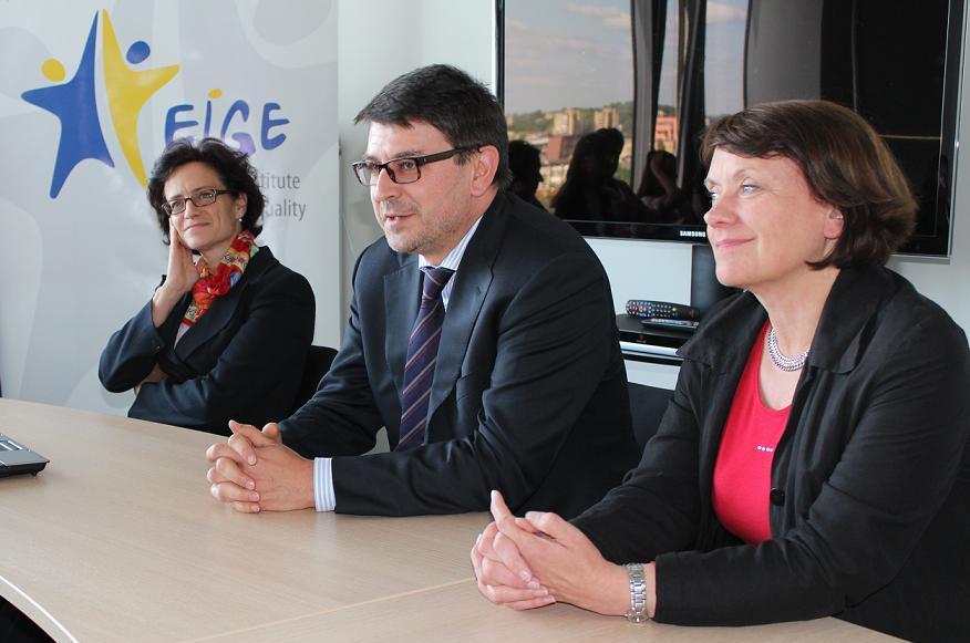 left to right: Ms. Daniela Bankier, Head of Gender Equality Unit (European Commission), Mr. Aurel Ciobanu-Dordea, Director of DG Justice, Directorate D (European Commission) and Ms. Virginija Langbakk, EIGE Director
