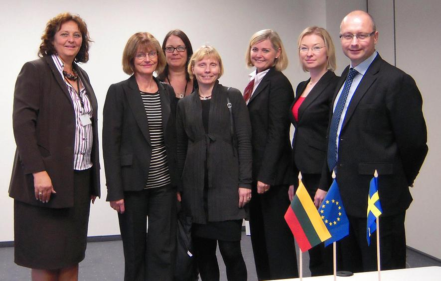 Swedish delegates with Ms Barbara Wurster (left), Ms Asa Fritzon (back) and Mr Jesper Hansen (right) from EIGE