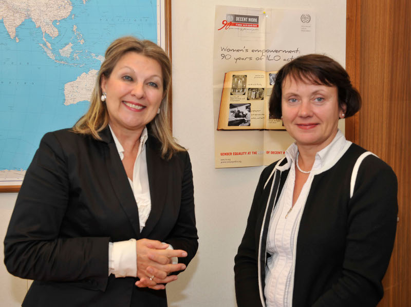 ILO's Bureau for Gender Equality Director Jane Hodges (left) and EIGE's Director Virginija Langbakk (right)
