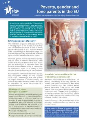 Poverty, gender and lone parents in the EU