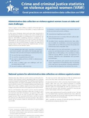 Good practices on administrative data collection on VAW
