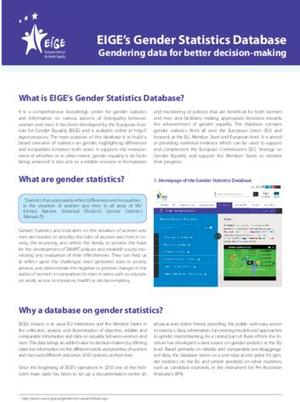 EIGE's Gender Statistics Database - Leaflet