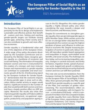 The European Pillar of Social Rights as an Opportunity for Gender Equality in the EU: EIGE's Recommendations