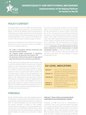Fact sheet: Gender equality and Institutional Mechanisms