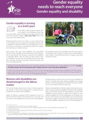 Gender equality needs to reach everyone - Gender equality and disability