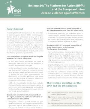 Beijing+20: The Platform for Action (BPfA) and the European Union Area D: Violence against Women
