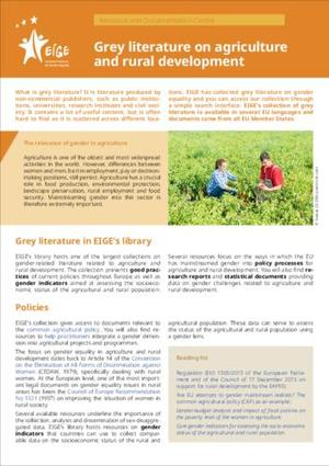 Grey literature on agriculture and rural development