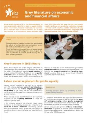 Grey literature on economic and financial affairs