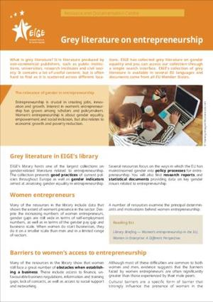 Grey literature on entrepreneurship