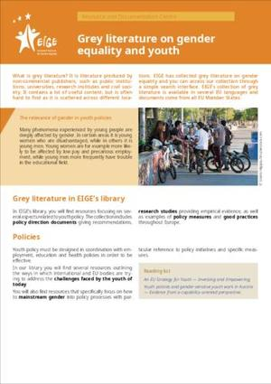 Grey literature on gender equality and youth