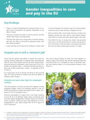 Gender inequalities in care and pay in the EU