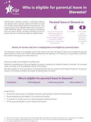 Who is eligible for parental leave in Slovenia?