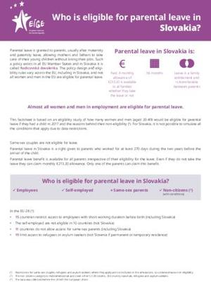 Who is eligible for parental leave in Slovakia?