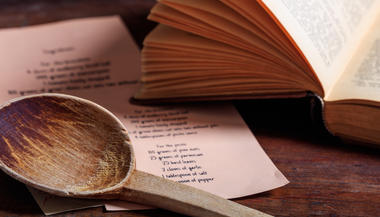 wooden ladle and recipe