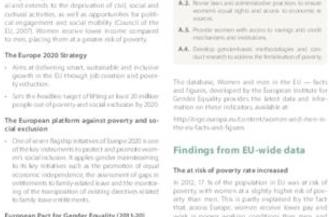 Beijing+20: The Platform for Action (BPfA) and the European Union Area A: Women and Poverty
